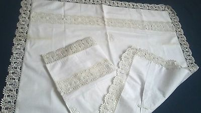 Pair of beautiful antique german unused  trousseau pillow cases with lace