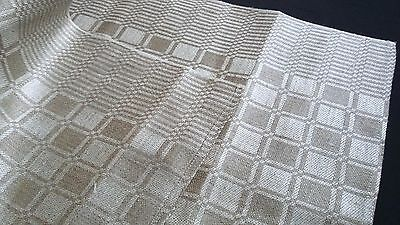 old linen kitchen Towel / Runner ecru coloured checkerboard pattern