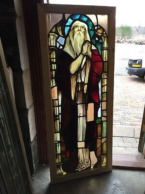 Sg 1342 Antique Painted And Fired Man Gazing At Stars Landing Window