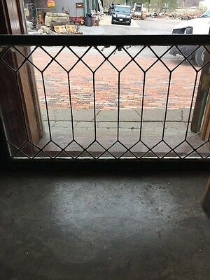 Sg 1343 Antique Geometric Leaded Transom Window 23.5 X 44.75