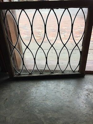 Sg 1345 Antique Figure 8 Leaded Glass Window 22.5 X 25 W