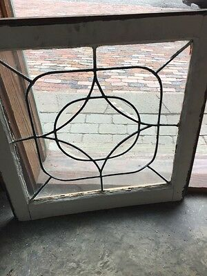 Sg 1346 Antique Beveled And Leaded Glass Window 24.5 X 25 H