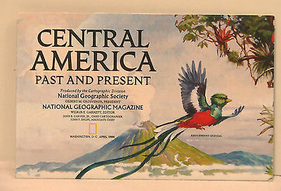 Vintage 1986 National Geographic Map of Central America Past and Present