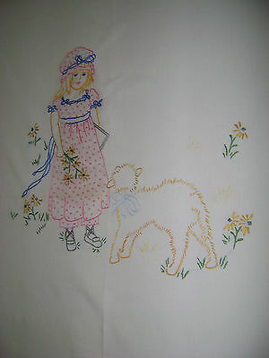 Antique heirloom cotton tablecloth Embroidered with Mary had a Little lamb