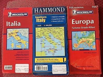 Michelin Maps, Italy & Europe Plus Southern Italy Hammond Map, 3 Maps