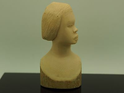 African Vintage Sculpture Ladies Bust From Ivory Coast