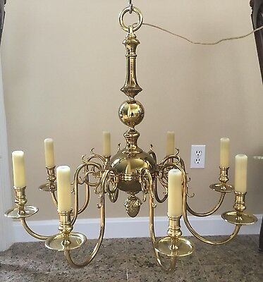 Statley Vintage Solid Brass 8 Arm Colonial Williamsburg Style Chandelier 28""