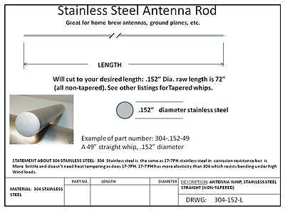"4 LOT .152"" x 72"""" Stainless Steel Whip, 304 SSTL Straight"
