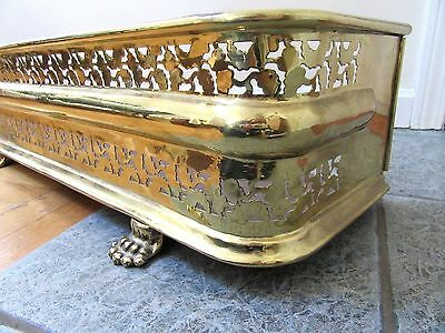 Ornate Pierced Brass Fireplace Fender Lion Paw Feet England Hearth Ornate 1870