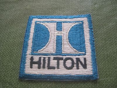 Vintage Sew On Advertising Patch Hilton Hotel Motel Blue & White New