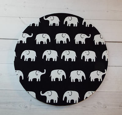 Round Computer Mouse Pad / Mat - black and white elephants tip top