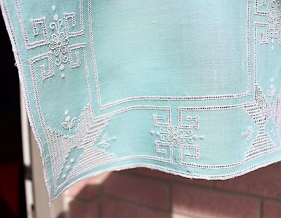 Mid Century Turquoise Blue Hand Embroidery Needlework Linen Placemats Runner Set