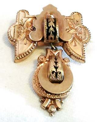 Antique Etruscan Taille D'epargne Brooch Gold Filled Chatelaine