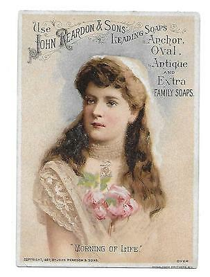 "John Reardon & Sons Anchor Oval Soap Victorian Trade Card ""morning Of Life"""