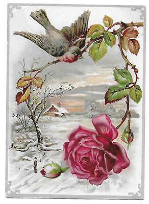 Lion Coffee Woolson Spice Co. Victorian Trade Card Bird-Rose-Winter Scene