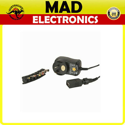 3V 4.5V 5V 6V 7.5V 9V 12V DC Switchmode Power Supply with USB Outlet 27W 2.25A