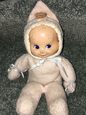 """1946 TRUDY BABY DOLL 14"""" Composition THREE FACE Smile Cry Sleep VINTAGE Antique"""