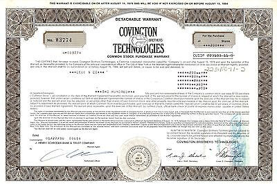 Covington Brothers Technologies   1980 California old stock certificate share