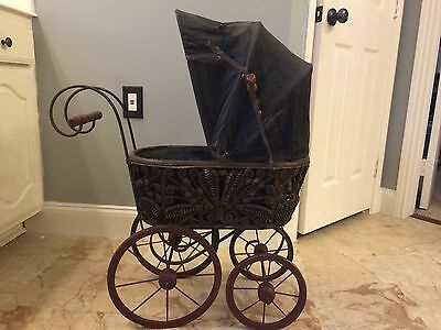 Vintage Baby Doll Wicker Carriage