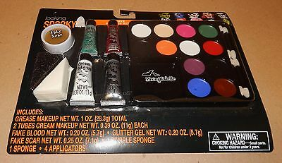 Halloween Deluxe Makeup Kit Looking Spooky Grease Makeup Glitter Gel Blood 119Z
