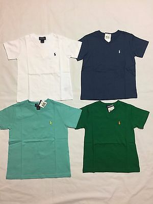 New With Tags Polo Ralph Lauren Boy's V.neck Toddler Short.sleeve T.shirts -