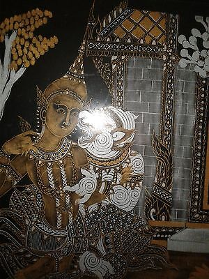 Limited Vintage Hindu/Thai Gold and Silver Silk Painting Framed