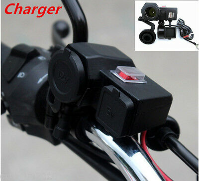 Waterproof Motorcycle 12V GPS Cigarette Lighter Dual USB Power Socket Phone Char