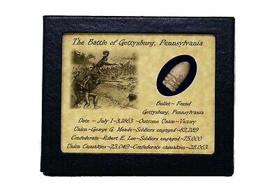 Dropped Civil War Bullet from Gettysburg in Matted Display Case with COA