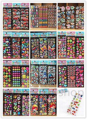 【TOP SALE】3D Puffy Kids Scrapbooking & Paper Crafts Party Favors Stickers Lot