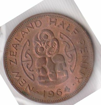 (H41-32) 1964 NZ 1/2Penny coin (K)
