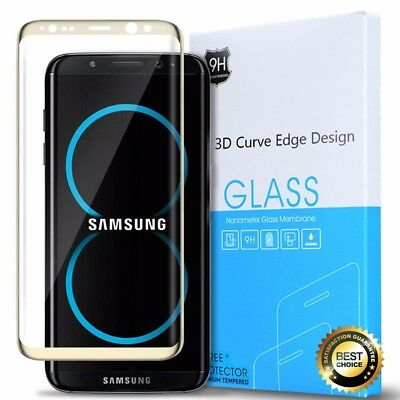 For Samsung Galaxy S8 Plus Tempered Glass Screen Protector 3D Curved Edge Gold