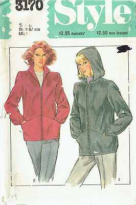 JACKET WITH ZIP FRONT & COLLAR or HOOD **VINTAGE** STYLE 3170 Size 12