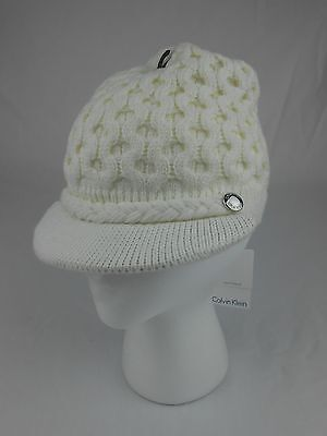 48d47304107 Calvin Klein Woman s Winter Hat Honeycomb Cable Knit Beanie Cream NEW NWT