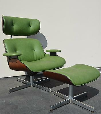 Vintage Selig Eames Lounge Chair + Ottoman Mid Century Modern Plycraft  Danish