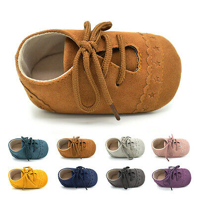 Baby Newborn Girl Boy Prewalker Sneakers Anti-slip Soft Crib Sole Lace up Shoes