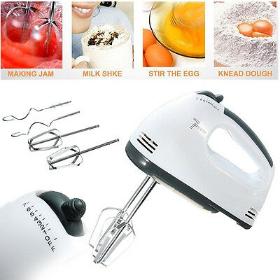 7 Speed Electric Hand Mixer Whisk Egg Beater Cake Baking Mains Powered 180W 220V