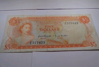 Bahamas 5 Dollar 1974  Condition Banknote