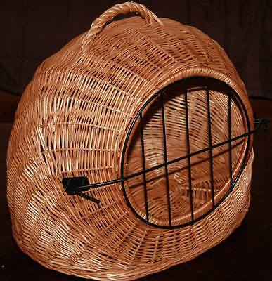 SMALL- Wicker Pet Carrier Igloo /FOR SMALL Dog Cat KITTEN  Rabbit, Natural Crate