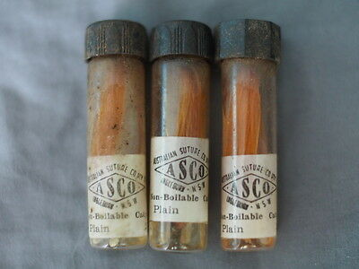 3x vials bottles 1950's ASCO non-boilable catgut  plain sutures medical curio