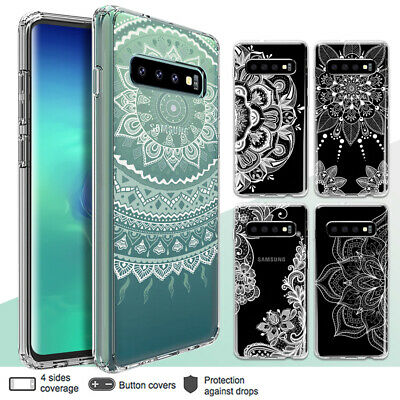 Galaxy S10 Plus S9 S8 Plus S7 Shockproof Slim Clear Case Mandala Henna Cover