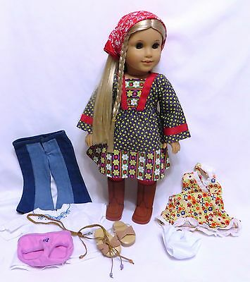 """18"""" American Girl JULIE ALBRIGHT DOLL w/CALICO DRESS, MEET Outfit + more"""