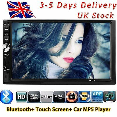 "7"" Double 2DIN In Car FM Stereo Radio MP5 Player Touch Screen Bluetooth HeadUnit"
