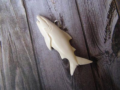 Pendant Necklace Shark From Buffalo Bone Carved with Silver 925_x523