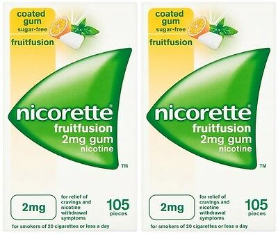 Nicorette 2mg Gum Nicotine 210 Pieces - FreshFruit Flavour (04/2018) Fresh Fruit
