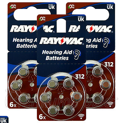 Rayovac Hearing Aid 312 Size Special batteries Zinc air Mercury free x 60 cells