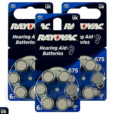 Rayovac Hearing Aid 675 Size Special batteries *Zinc air Mercury free x 60 cells