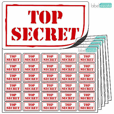 480 TOP SECRET Stickers. Clear & Consistent. No Messy Stamp. Adhesive Labels.