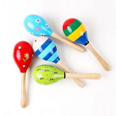 Wooden Baby Colorful Toys Handbell Rattle Sand Hammer Musical Infant Ball Play