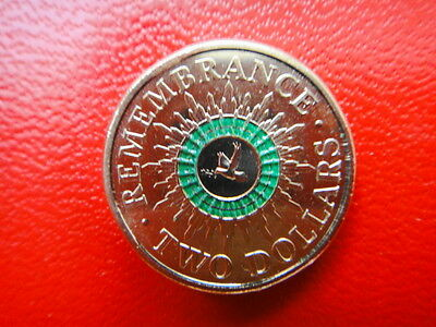 2014-Australian $2-Two Dollars-Remembrance Day Green Stripe/Ring/Coin-Unc