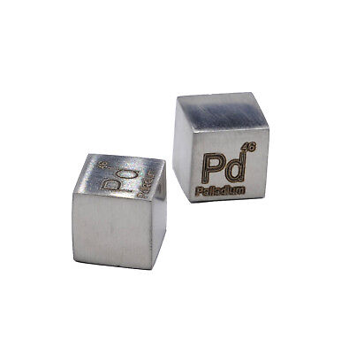 Palladium Metal 10mm Density Cube 99.95% Pure for Element Collection